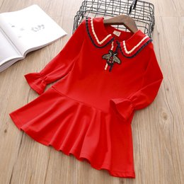Robe d'animal coréenne en Ligne-Robe de col de poupée de designer LOGO bébé fille robes style collège version coréenne de la jupe plissée brodée fille enfant