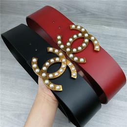 Oberster Entwerfergurt der gehobenen Luxuxdamenart und weise neuer 7cm breiter Gurtschwarzer und roter Körper weißer Perlenschnallengürtel 2019 heißer Verkauf Großverkauf von Fabrikanten