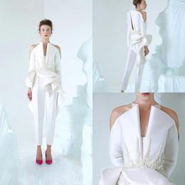 maniche uniche di vestiti da sera Sconti 2019 Design unico abiti da sera bianchi scollo a V maniche lunghe Appliques in pizzo perline abiti da fidanzamento abito da sposa prom
