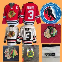 pierre bianco Sconti Pierre Pilote Jersey 1975 Hall Of Fame Patch Hockey su ghiaccio Chicago Blackhawks Maglie CCM Vintage White Navy Home Away