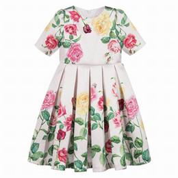 Argentina Venta al por mayor 2019 primavera verano vestido para niñas media manga flores hojas princesa vestido ropa niños 4-10T E8901 Suministro
