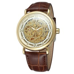 Forsining Marrom Real Couro Banda Moda Clássica Diamante Roman Dial Homem Esqueleto Mecânico Relógio De Pulso de