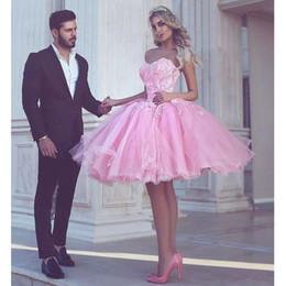 2019 платье длиной до колена короткие платья выпускного вечера розовый 2019 платья возвращения на родину A-Line Милая длиной до колен тюль кружева элегантные коктейльные платья из бисера дешево платье длиной до колена