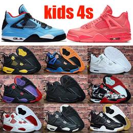 Athletische kinderschuhe online-Modedesigner Schuhe 4 Kinder Basketballschuhe Kinder Outdoor-Sport-Gymnastik rot Chicago Boy Girls 4s Luxus athletische Turnschuhe 28-35