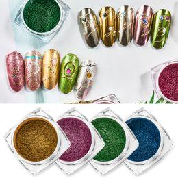 Polvo de oro brillo online-T-TIAO CLUB Super Shine Nails Glitters Espejo Titanium Powder Rose Gold Silver Metallic Manicure Nail Art Cromo Polvo decoración