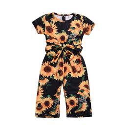 calentadores con capucha Rebajas Bebé niño niña princesa mameluco traje manga corta ropa casual girasol mono niños bebé niña ropa
