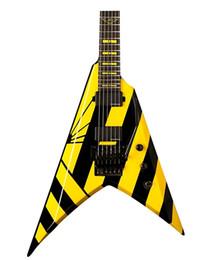 Flying v custom guitarra electrica online-Lavado personalizado Parallaxe V260 Guitarra Eléctrica Michael Sweet Flying V Negro Raya Amarilla Riel Doble Tremolo Columna Diapasón Incrustado Amarillo