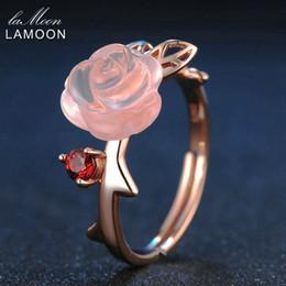 rosenquarzring sterling silber Rabatt Lamoon Rose Blume 9mm 100% natürliche rosa Rosenquarz verstellbaren Ring 925 Sterling Silber Schmuck für Frauen Hochzeit Lmri025 J 190430