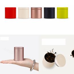 Rotondo di latta online-47 * 65 millimetri piccola bombola Bella Metal Box Tea Tin Box Storage Box rotonda Caffè Tè Cucina Tin casa Container FFA3579