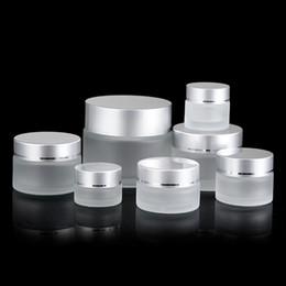 5g glas kosmetikglas Rabatt 5g 10g 15g 20g 30g 50g Mattglas kosmetisches Glas Creme Lippenbalsam Vorratsbehälter nachfüllbar Probenflasche mit Silber Lids MMA3049-4