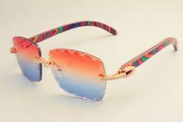 Lentes de cores naturais on-line-2019 frete grátis lente de gravação 8300177 moda óculos de sol pequeno diamante pala de sol cor natural óculos de sol de madeira lente 3.0 espessura