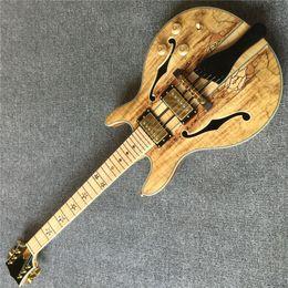 2019 fretless gitarren Neuer Stil, Jazz-E-Gitarre, hochwertige Goldfarben-Hardware, hochwertige 6-Stachel-Gitarren, Vibrato-System, E-Gitarren mit echten Fotos