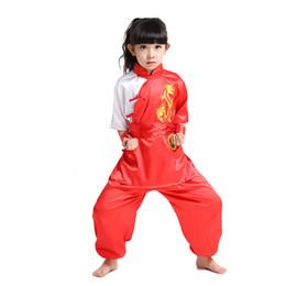 Canada Costumes enfants garçons à manches courtes de style chinois à broder Kung Fu ensembles Veste + Pantalon WuShu Dramaturgic Costume 0127 Offre