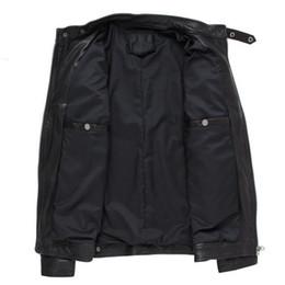 Cappotti di capre online-Uomini nuovissimi rivestimento di cuoio reale genuina pelle di pecora capro Bomber Motociclista Coat Man stand Collare Giacche Streetwear