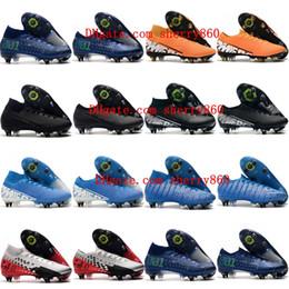Scarpe da calcio di vapori online-2019 tacchetti di calcio del mens Mercurial Superfly 7 Elite SG-PRO scarpe da calcio AC buon mercato CR7 Mercurial Vapori 13 scarpe da calcio Elite SG-PRO