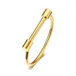 D em forma de jóias on-line-Aço inoxidável D Forma Bar Screw Bangle Manilha Parafuso Pulseira Para As Mulheres Cuff Pulseira Jóias Pulseiras 4 MM de Largura