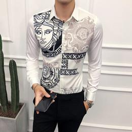 camisa de seda plateada para hombre Rebajas camisas de manga larga estampadas para hombres slim fitHombres Slim fit Impreso Vestido de manga larga con botones Camisa floral a8