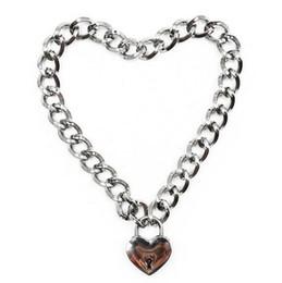 Metall halskragen sklaven online-DreamBell Fashion Damen Punk Cool Neck Kragen Slave Spiel Haustier Herz-Form Vorhängeschloss Metall Choker Halskette