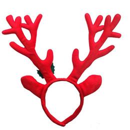 Adulto lindo y niños Navidad diadema caliente Elk astas reno campana Headwear banda de pelo moda felpa decoración de Navidad Hairbands desde fabricantes