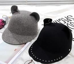 cappello di lana dell'orecchio del gatto nero Sconti 01910-shi Rivet decorazione cat orecchio lana perla VISIERE Black Cap donne cappello equestre di svago