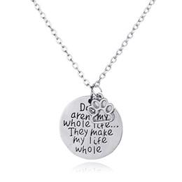 Подвеска для собаки онлайн-Fashion Dog Footprint письмо кулон ожерелье для женщин ювелирный подарок 160879