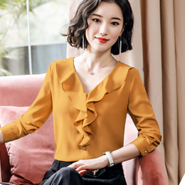 3346d934f464 Elegant long sleeve shirt female 2019 Spring New V Neck Ruffles slim fashion  chiffon blouses office ladies plus size loose tops red ruffled blouse outlet