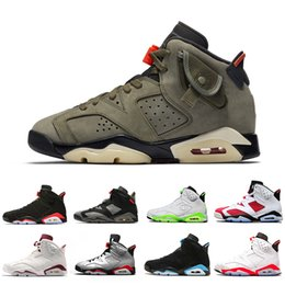X tomas online-Alta calidad Travis Scott X Air Jordan 6 Medium Olive 6s Hombres Zapatillas de baloncesto UNC Tinker Black Infrared Cactus Jack Oregon Zapatillas deportivas para hombre 7-13