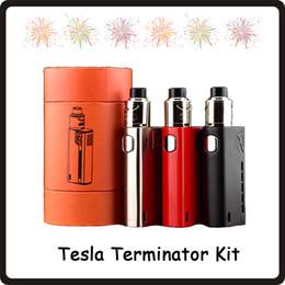 2019 kits de arranque terminador Tesla Terminator Starter kits 90w mod de caja de vape VW 18650 Batería Antman 22 RDA Tank E Kit de cigarrillos DHL Free kits de arranque terminador baratos