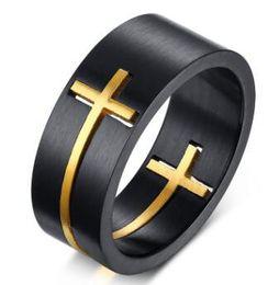 2019 14k gold kreuz ring Heißer Verkauf Edelstahl Gold Kreuz Ringe Glaube Anglikaner Christian Prayer Ring für Männer Removable Band Ringe Großhandel günstig 14k gold kreuz ring