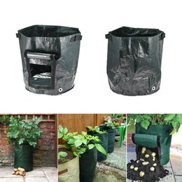 Piantare fragole online-Mobile Grow Grower Bag 35 * 34cm Coltivazione di patate Piantare giardino Strawberry Pots Fioriere Outdoor Planting Grow Bag 120pcs AAA1527