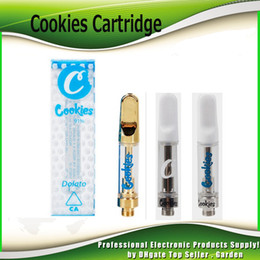 cookie stickers Promo Codes - Newest Cookies Vape Carts Cartridge 1.0ml Ceramic Coil Glass Gold Tank 510 Thick Oil Atomizer With 11 Flavors Stickers