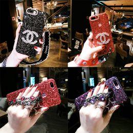 Cas de téléphone de luxe de paillettes pour iPhone Xr Xs MAX 6 7 7 8 Plus Cas Étincelle Strass Poignet Chaîne Téléphone Cas ? partir de fabricateur
