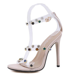 Eleganti scarpe beige online-Eleganti Décolleté Donna Sandali Tacchi a spillo Beige Peal Scarpe da banchetto Plus Size Eu 35-42 New