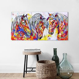 zuhause dekor gerahmte pferd malerei Rabatt HDARTISAN Wandkunst Leinwand Malerei Tier Bild Drei Pferde Poster Drucke Wohnkultur Kein Rahmen
