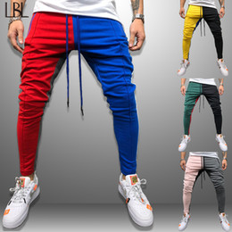 block printed Promo Codes - LBL Striped Sweatpants Men Color Block Patchwork Jogger Long Pants Man Outwear Hip Hop Trousers Men's Sportswear Brand Clothing