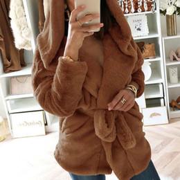 abrigo de peluche blanco de invierno Rebajas Abrigo con capucha de felpa caliente  Mujeres Marrón Abrigos 1d2224691945
