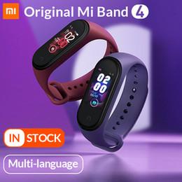 Exibição de relógio oled on-line-Mi banda original 4 pulseira inteligente xiaomi banda 4 monitor de fitness relógio monitor de freqüência cardíaca monitor de 0.95 polegada OLED Band4 Bluetooth