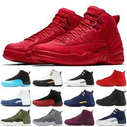 Zapatos de baloncesto ovo online-retro nike air jordon Gimnasio de baloncesto rojo calza 12 ovo las alas blancas 12s maestros para hombre CNY Taxi alta calidad zapatos de entrenamiento para deportes
