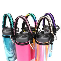 corda transportadora Desconto Thermos Cup punho da corda 13 cores Durable Cord portador Survival cinta com Segurança Anel mosquetão de boca larga Esporte Garrafas Handles OOA7482