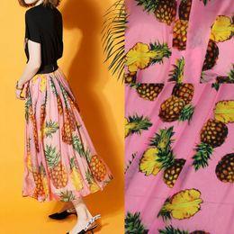 2019 tecido de frutas impressões 1 Metro Frutas Quentes Frutas Tropicais Imprimir Chiffon Tecido Abacaxi Verão Vestido Material Roupas tecido de frutas impressões barato