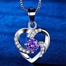 Coeur de la mode Forme Zircon Cristal Collier femmes chaîne en argent sterling Choker collier pendentif de mariage Cadeaux de filles ? partir de fabricateur