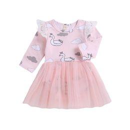 Vestido de impressão em nuvem on-line-Emmababy Hot Adorável Da Criança Do Bebê vestido de menina Nuvem Swan Imprimir Manga Longa Vestido De Baile Mini Vestido de natal