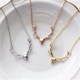 Bijoux sika en Ligne-New hot Sika cerf bois collier mode mignon animal pendentif collier usine en gros meilleur prix animal pendentif bijoux pour cadeau