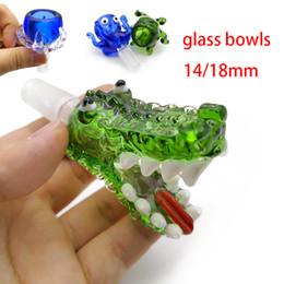 oktopus geformte bong Rabatt Thema Glasschale mit 14mm 18mm männlichen Rauch Zubehör Glas Wasser Bongs Krake Krokodil Klauenform