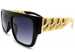 Ouro Chain Link Hip Hop Rapper aviador celebridades Óculos de sol para homens e mulheres Multi-cor para escolher o transporte livre de