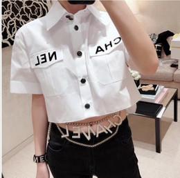 Hochwertige hemden online-Sommer Frauen desinger Brief Bluse Sommer Mode Umlegekragen Kurzarm High Low Crop Shirts Party Streetwear Tops Plus Größe Dresse