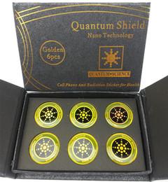 Autocollants de radioprotection en Ligne-Quantum Science Shield Anti Radiation Mobile Téléphone Autocollant Argent Or EMF Protection EMR Protection Nano Autocollant avec Boîte-Cadeau