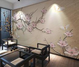 soffitti stellati Sconti Pink Flower Wallpaper 3D Murale Immagine Camera Canvas Stampa artistica Wall Paper Mano Painting Contact Carta di lusso per la casa