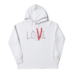 Pullover donna bianca online-Felpa con cappuccio Vlone Vlone Love Uomo Donna Felpe con cappuccio Migliore qualità Nero Bianco Felpe con cappuccio da uomo taglia S-XL