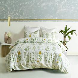 Set biancheria da letto in stile elegante Twin Full Queen Size 2 / 3pcs con federa Biancheria da letto per la casa con fiori verdi di copriletto da